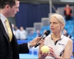 <h5>Amanda Green chair of the trustees  Being interviewed at the wheelchair tennis championship 2014</h5>