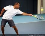<h5>Tennis player bounces ball on racket</h5>
