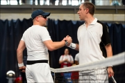 <h5>Male single finalists shake hands over the net</h5>