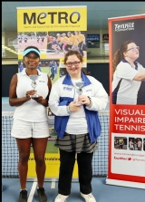 <h5>Womens Doubles winners get their awards</h5>