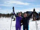 <h5>Skier and guide raising the hands in the air for the photo</h5>