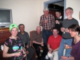 <h5>Group photo of Skiers and guides back at the chalet socialising </h5>