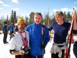 <h5>Two skiers and a guide out on the snow</h5>