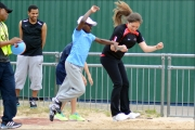 <h5>Guide runner and under 18 try out the Long Jump together at the festival</h5>