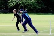 <h5>Batsman and fielder running together</h5>