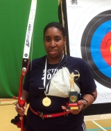 <h5>Andrea Thomas with her Gold Archery Trophy </h5><p>Andrea Thomas with her Gold Archery Trophy won at a British Blind Sport Competition on  the 16th April 2016</p>