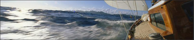 Photo banner for Visually Impaired Sailing showing the sea speeding past the side of the yacht at an angle -Multi Events for blind and partially sighted people Photo Credit: Microsoft