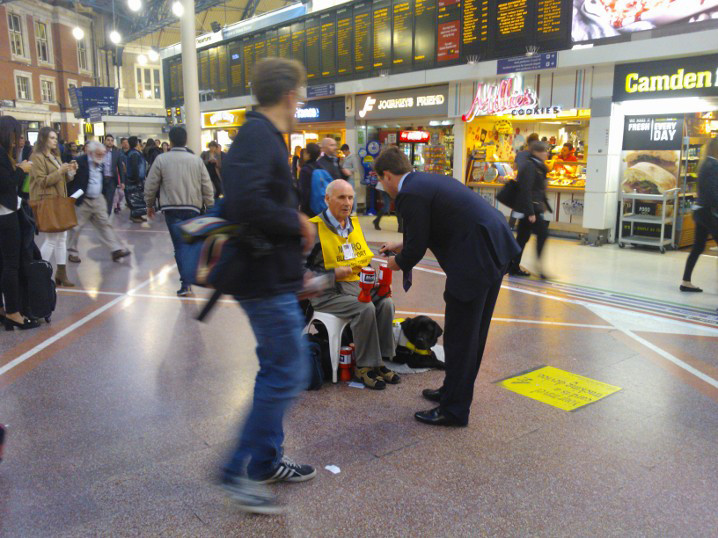 Eric Collecting at Victoria Station 2015
