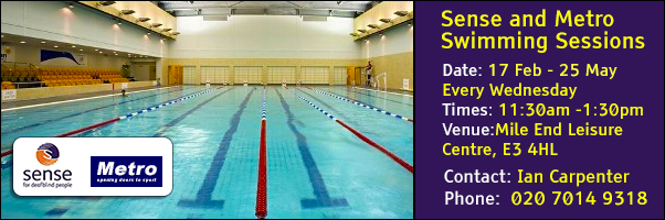 Weekly Swimming Sessions at the Mile End Leisure Centre from Sense and Metro Blind Sport