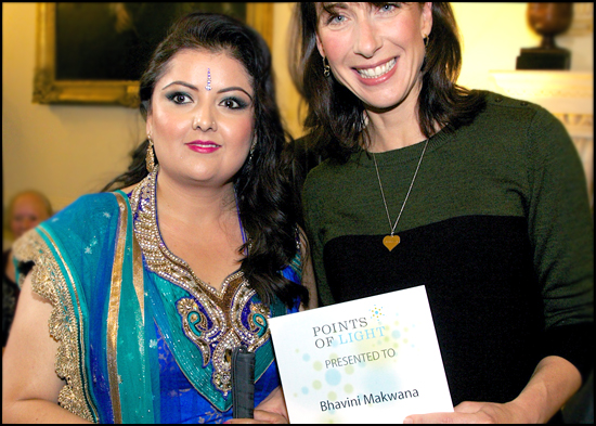 """Bhavini was presented with the """"Prime Ministers Points of Light award"""" by Samantha Cameron"""