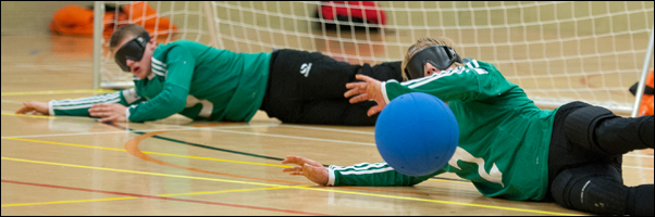 Goalball: two player cover the goal