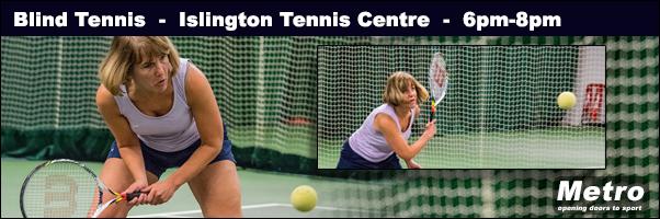 Islington Blind Tennis banner 2017 Monica hitting the ball