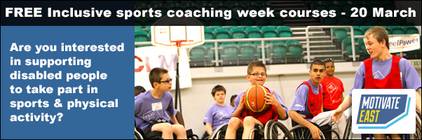 FREE Inclusive sports coaching week courses - 20 March - Motivate East