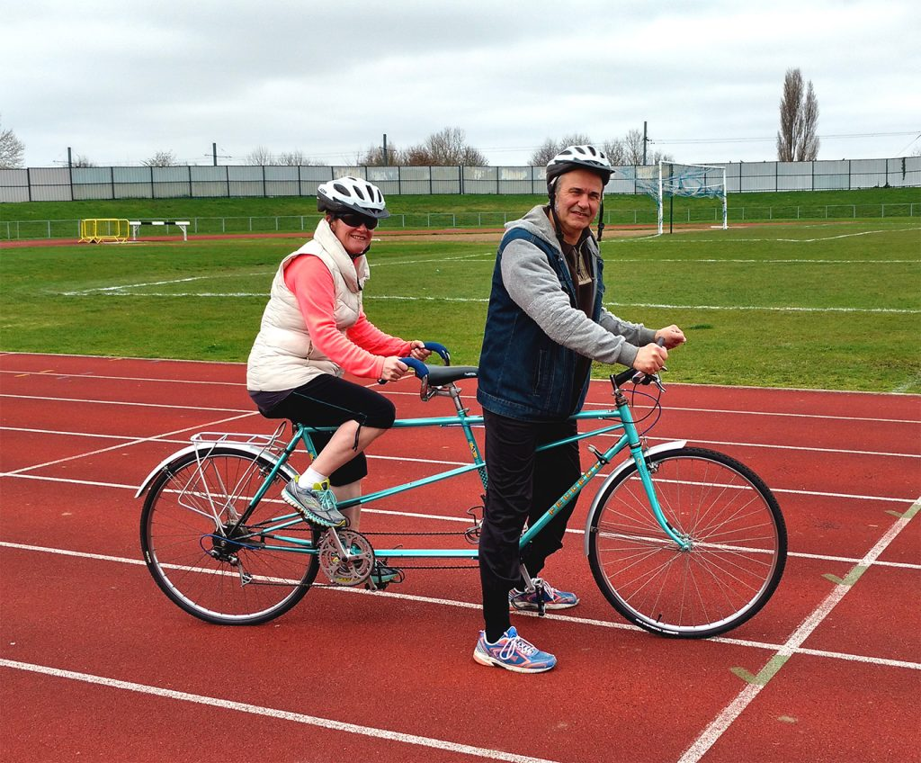 Odette and her husband Jean at the Croydon Arena - tandem riding