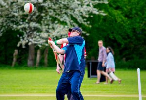 Gary Moritz about to hit a high ball - Metro Devils v Gloucestershire 07 May 2016