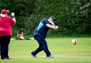 Gary Moritz hits a mid to low ball - Metro Devils v Gloucestershire 07 May 2016