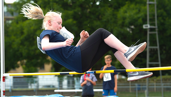 Girl doing the high Jump