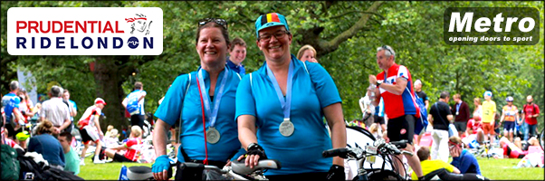Odette and Front Rider at last year Prudential Ride with Medals!