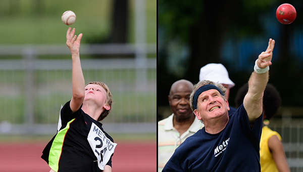 Boy and Man Ball throwers in two spilt photos