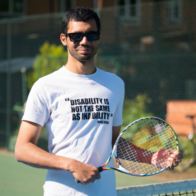 VI tennis player Naqi Rizvi at Globe Tennis Club in Belsize Park. Picture Siorna Ashby