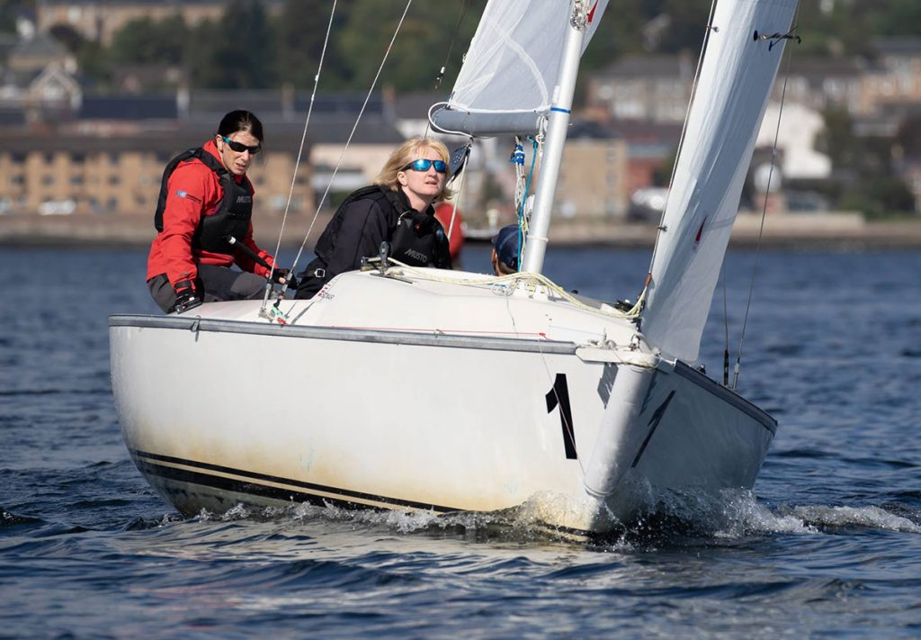 GBR team sailing towards the camera Blind Sailing Championships