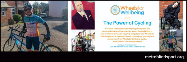 The Power of Cycling Event 7 March for Wheels for Wellbeing