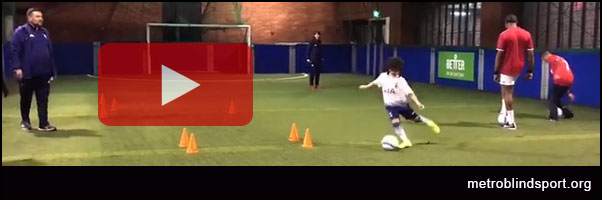 Video of blind and VI football taster in Brixton