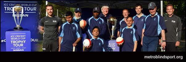 Metro Cricket Players with Charlie Roy and Martin and the ICC Cricket World Cup Trophy - Photographer: Stephen Gardiner