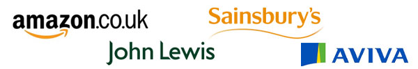 Amazon, John Lewis, Sainsbury's and Aviva logos