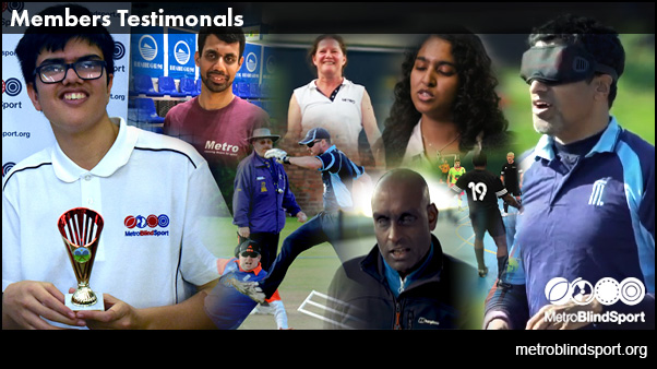 Montage of photos of the members who have testimonials on our Metro Blind Sport Testimonial Page