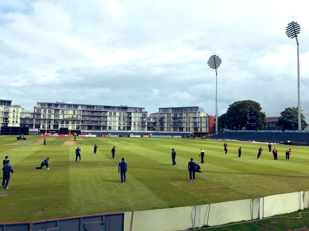 Photo of the County Ground in Bristol with metro team warming up