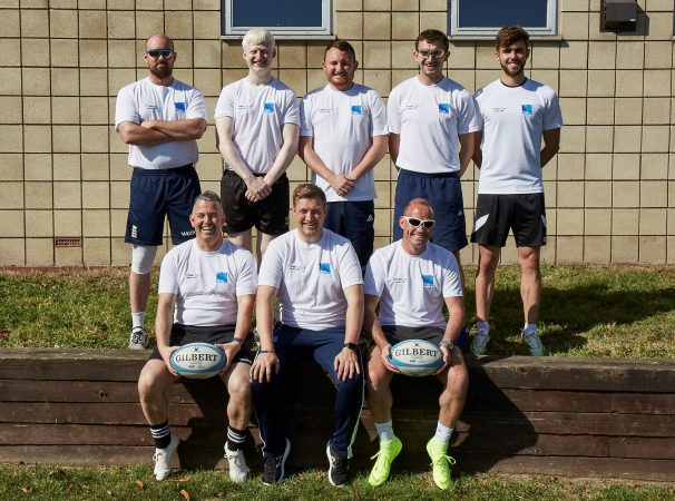 England VI team. Top (from left): Si Ledwith, Jack Pearce, Dan Linekar (coach), Ryan Jones, Christopher Styles. Bottom: Gareth Davies, Alex Bassan (head coach), Mathew Lancett (TCF)