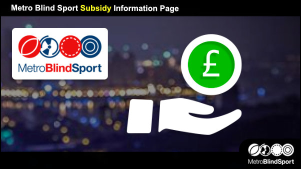 Subsidy Information Page Banner - Metro Blind Sport logo and a hand icon and a Pound Note Symbol