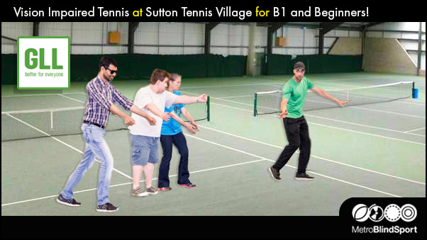 The Tennis Coach and VI Players moving across the court in a Line, the text says Vision Impaired Tennis at Sutton Tennis Village for B1 and Beginners