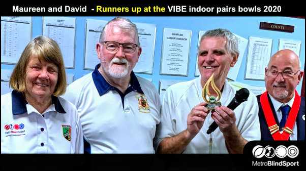 Maureen and David Runners up at the VIBE indoor pairs bowls 2020