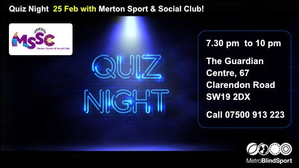 Quiz Night 25 Feb with Mertson Sport and Social Club