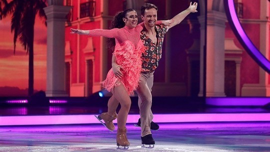Libby and Mark in salsa outfits - Image credits ITV and Matt Frost