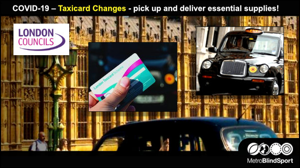 COVID-19 – Taxicard Changes - pick up and deliver essential supplies!