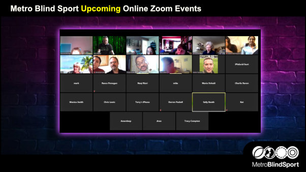 Metro Blind Sport Upcoming Online Zoom Events
