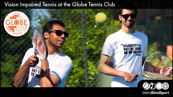 Photo of a Blind Tennis player on the outside courts at the Globe Tennis Club