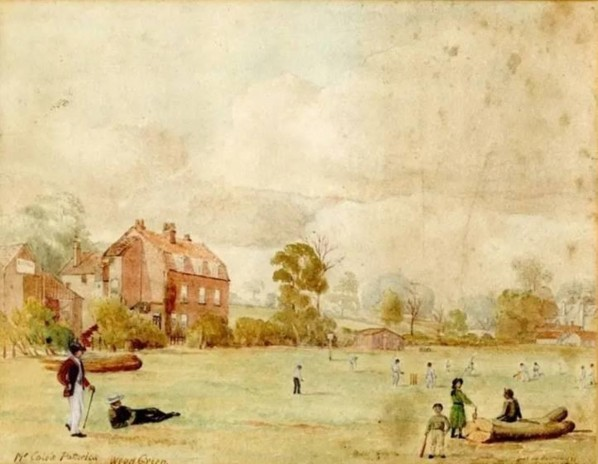 Watching cricket in the field by Mr Cole's Potteries in White Hart Lane, Wood Green c.1888.