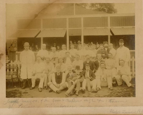 Group of cricketeers showing the team of Joseph May whose family had owned the 'Rose and Crown' pub at the High Cross for over 100 years