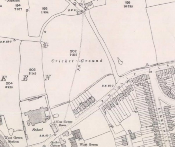 The Tottenham Cricket Club, just off Philip Lane as shown on the 1894 Ordnance Survey map. From the collections of Bruce Castle Museum (Haringey Archive and Museum Service)