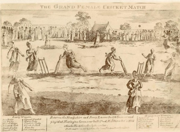 a cricket match between Hampshire and Surrey in Newington Green in 1811