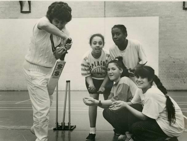 Haringey Cricket College, Selby Centre, Girls' Training Session with Jenny Wostram coaching, 1990