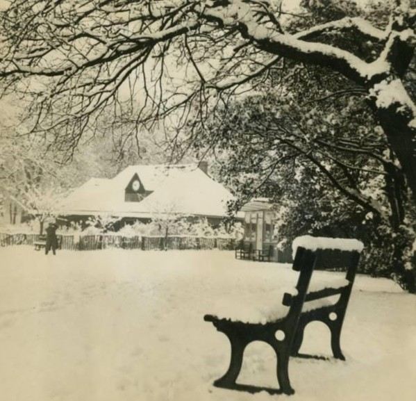 Highgate Wood Cricket pavilion in the snow, 1950s.