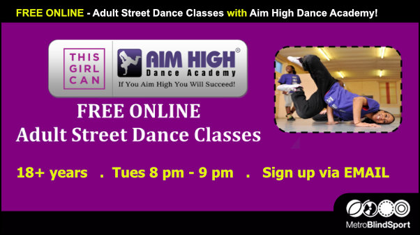 FREE ONLINE- Adult Street Dance Classes with Aim High Dance Academy!