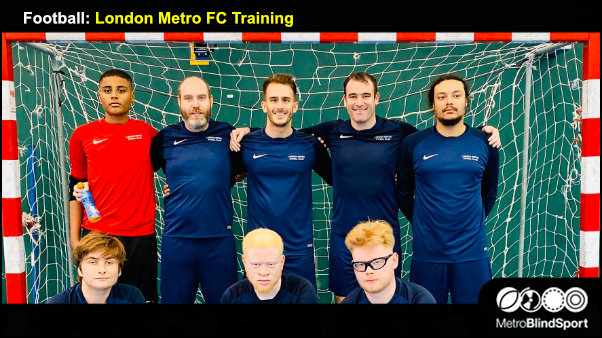 London Metro FC Training session - A London Metro Futsal Club Team photo all smiling in front of the goal