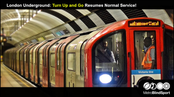 London Underground Turn Up and Go Resumes Normal Service! photo of a tube train by the platform