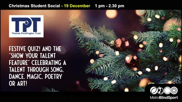 Christmas Student Social - 19 December - 1 pm - 2.30 pm